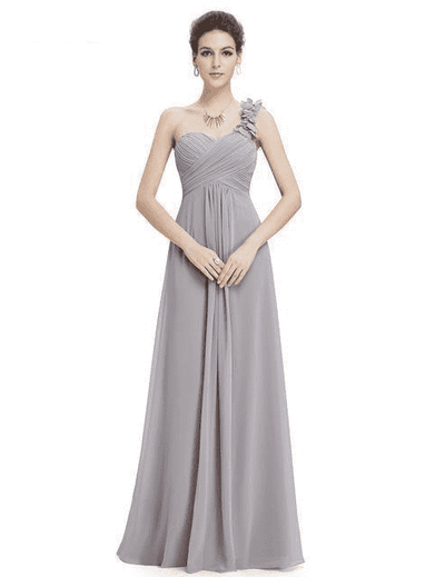 Flower One Shoulder Chiffon Padded Long Dress Gray / 4 Bridesmaid Dresses