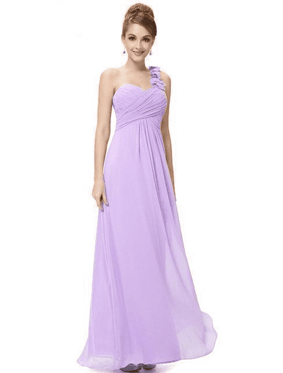 Flower One Shoulder Chiffon Padded Long Dress Lavender / 4 Bridesmaid Dresses