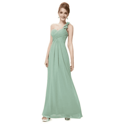 Flower One Shoulder Chiffon Padded Long Dress Mint Green / 4 Bridesmaid Dresses