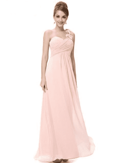 Flower One Shoulder Chiffon Padded Long Dress Pink / 4 Bridesmaid Dresses
