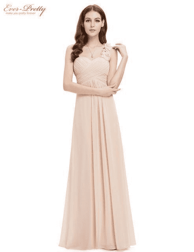 Flowers One Shoulder Chiffon Padded Dress Blush / 4 Evening Dresses