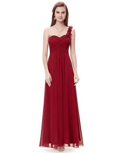 Flowers One Shoulder Chiffon Padded Dress Burgundy / 4 Evening Dresses