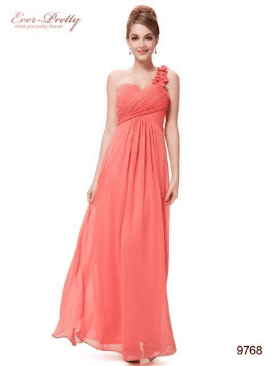 Flowers One Shoulder Chiffon Padded Dress Coral / 4 Evening Dresses