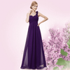 Flowers One Shoulder Chiffon Padded Dress Dark Purple / 4 Evening Dresses