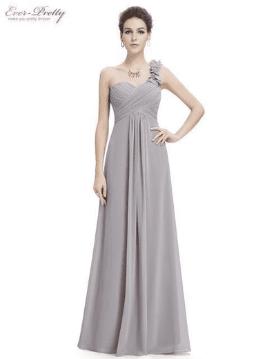 Flowers One Shoulder Chiffon Padded Dress Gray / 4 Evening Dresses