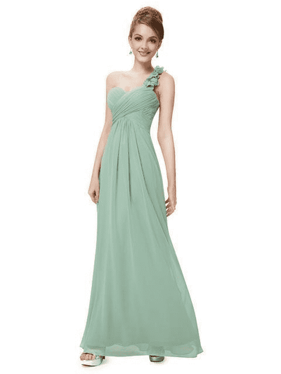 Flowers One Shoulder Chiffon Padded Dress Mint Green / 4 Evening Dresses