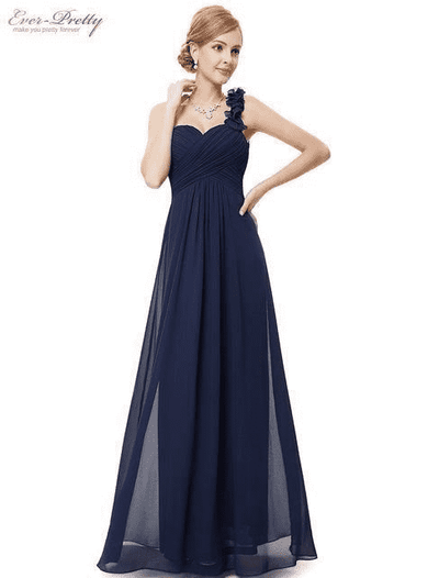 Flowers One Shoulder Chiffon Padded Dress Navy Blue / 4 Evening Dresses