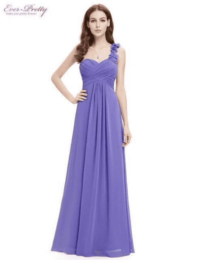 Flowers One Shoulder Chiffon Padded Dress Periwinkle / 4 Evening Dresses