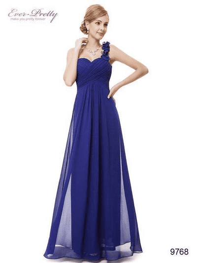 Flowers One Shoulder Chiffon Padded Dress Sapphire Blue / 4 Evening Dresses
