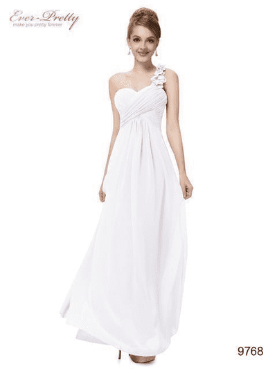Flowers One Shoulder Chiffon Padded Dress White / 4 Evening Dresses