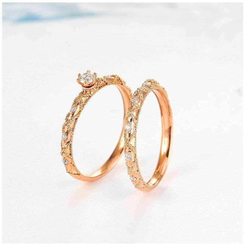 Gold Diamond Ring Retro Wedding Propose Party Women 18K