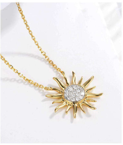 Gold Necklace Pendant Sun Shiny Women Girl Miss Gift 18K