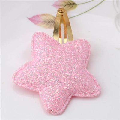 Hair Accessorie Barrettes Glitter Stars Bb Clip Star Pink