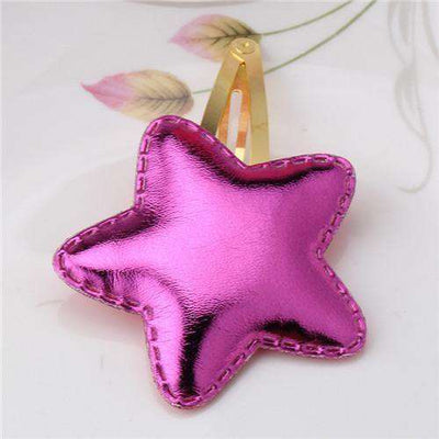 Hair Accessorie Barrettes Glitter Stars Bb Clip Star Rose Red