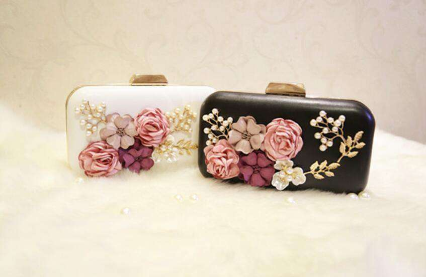 Handmade Flower Evening Clutch Bags Fashion White