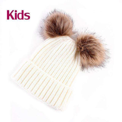 Hat Caps Children Girl Boy Wool Fur Bobble Ball Pompom Beanies Hats Kids White