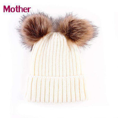 Hat Caps Children Girl Boy Wool Fur Bobble Ball Pompom Beanies Hats Mom White