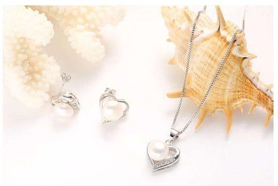 Heart Sterling Silver Jewelry Pendant Necklace & Earring