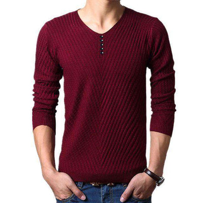 Henley Neck Sweater Burgundy / M M.sweaters
