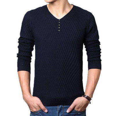 Henley Neck Sweater Navy / M M.sweaters
