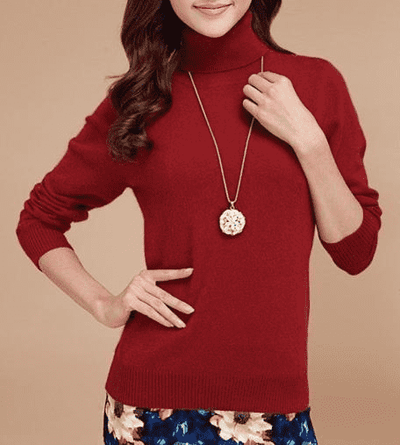 High Collar Winter Sweater Rust Red / S W.sweaters