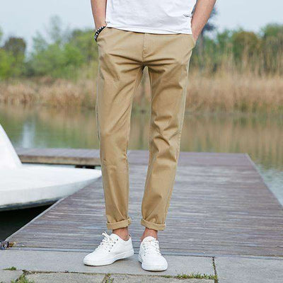 High Quality Long Elastic Khaki Pants Khaki / 29 / China Casual Pants