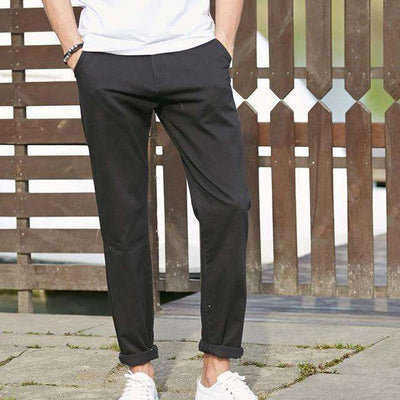 High Quality Long Elastic Khaki Pants Black / 29 / China Casual Pants