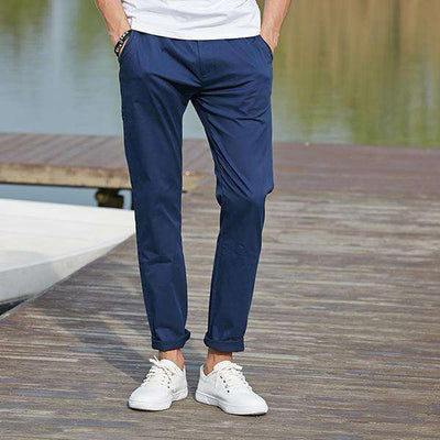 High Quality Long Elastic Khaki Pants Dark Blue / 29 / China Casual Pants