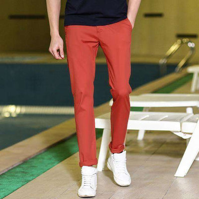 High Quality Long Elastic Khaki Pants Red / 35 / China Casual Pants
