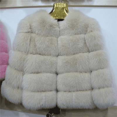 High Quality Short Fox Fur Overcoat Beige 09 / S Fur Bust 88 Cm Real Fur