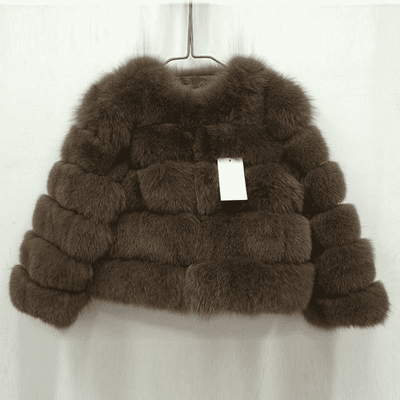 High Quality Short Fox Fur Overcoat Dark Brown / S Fur Bust 88 Cm Real Fur