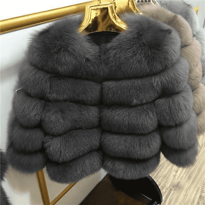 High Quality Short Fox Fur Overcoat Dark Gray 12 / S Fur Bust 88 Cm Real Fur