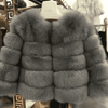 High Quality Short Fox Fur Overcoat Gray 06 / S Fur Bust 88 Cm Real Fur
