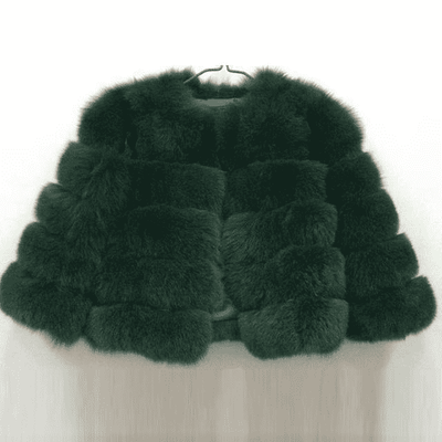 High Quality Short Fox Fur Overcoat Green 13 / S Fur Bust 88 Cm Real Fur