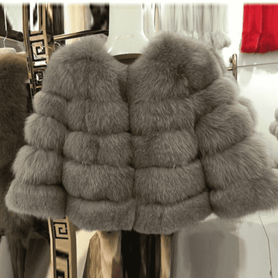 High Quality Short Fox Fur Overcoat Light Coffee 11 / S Fur Bust 88 Cm Real Fur