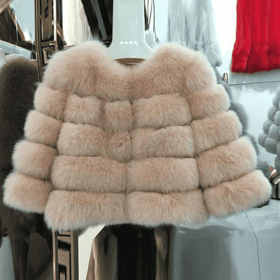 High Quality Short Fox Fur Overcoat Light Powder 10 / S Fur Bust 88 Cm Real Fur