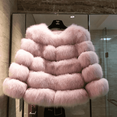 High Quality Short Fox Fur Overcoat Pink 03 / S Fur Bust 88 Cm Real Fur