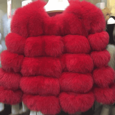 High Quality Short Fox Fur Overcoat Red 05 / S Fur Bust 88 Cm Real Fur