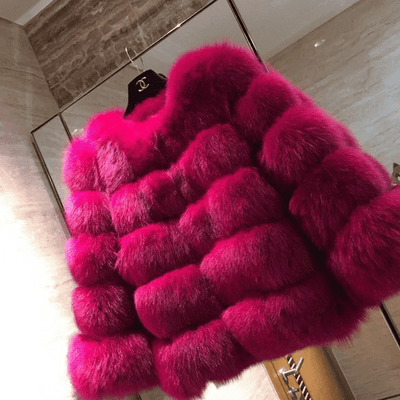 High Quality Short Fox Fur Overcoat Rose Red 08 / S Fur Bust 88 Cm Real Fur