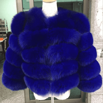 High Quality Short Fox Fur Overcoat Royal Blue 01 / S Fur Bust 88 Cm Real Fur