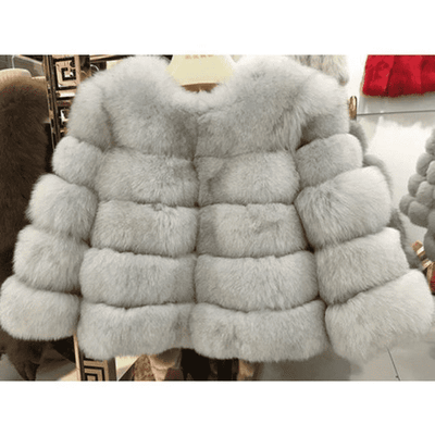 High Quality Short Fox Fur Overcoat True Color 02 / S Fur Bust 88 Cm Real Fur