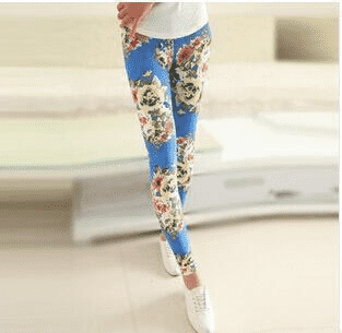 Hot Print Flower Leggings W058 Peony Khaki / One Size Leggings