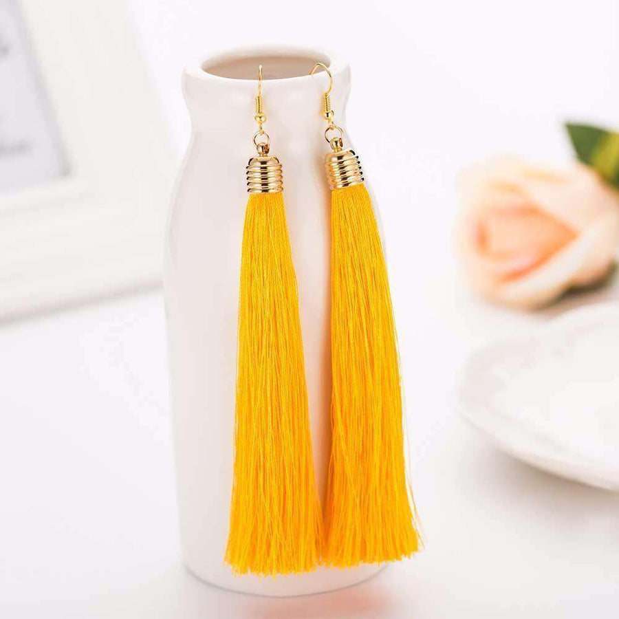 Hot Tassel Drop Earrings Black Vintage Tassel Earrings