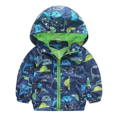 Jacket Boys Outerwear Coats Active Boy Windbreaker Blue Dinosaur / 3T