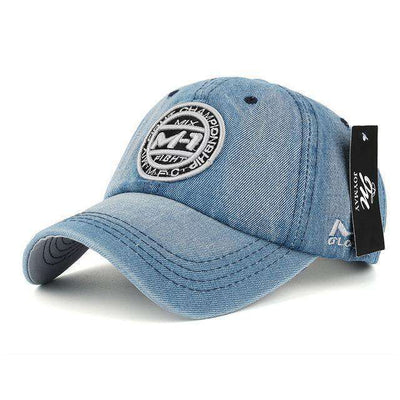 Jean Badge Embroidery Hat Grey Baseball Caps