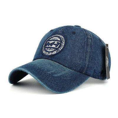Jean Badge Embroidery Hat Navy Baseball Caps