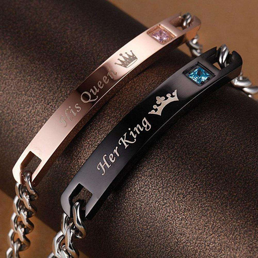 King His Queen Couple Bracelets With Crytal Stone