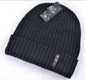Knitted Wool Hat Plus Velvet Cap Black / China Beanies