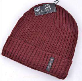 Knitted Wool Hat Plus Velvet Cap Crimson / China Beanies