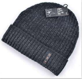 Knitted Wool Hat Plus Velvet Cap Dark Grey / China Beanies